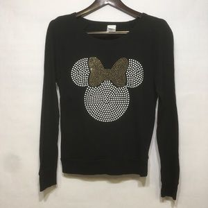 DISNEY BLACK MINNIE MOUSE METALLIC STUD SWEATSHIRT